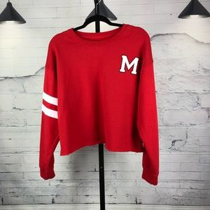 Mickey Mouse Red Cropped Sweatshirt Varsity